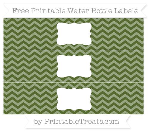 Free Dark Olive Green Chevron Water Bottle Labels
