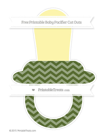 Free Dark Olive Green Chevron Extra Large Baby Pacifier Cut Outs