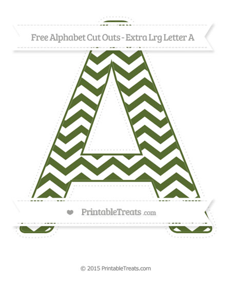 Free Dark Olive Green Chevron Extra Large Capital Letter A Cut Outs