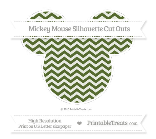 Free Dark Olive Green Chevron Extra Large Mickey Mouse Silhouette Cut Outs