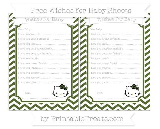 Free Dark Olive Green Chevron Hello Kitty Wishes for Baby Sheets