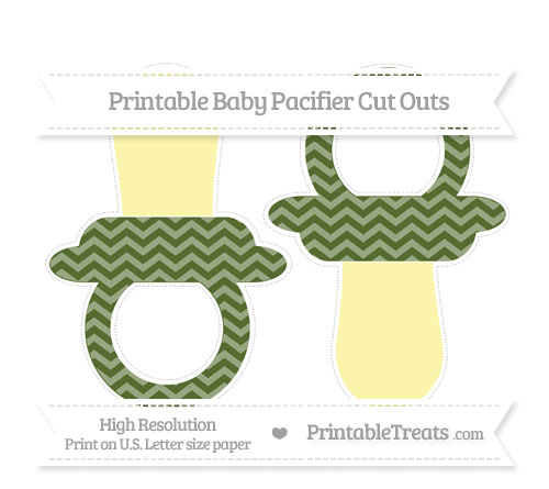 Free Dark Olive Green Chevron Large Baby Pacifier Cut Outs