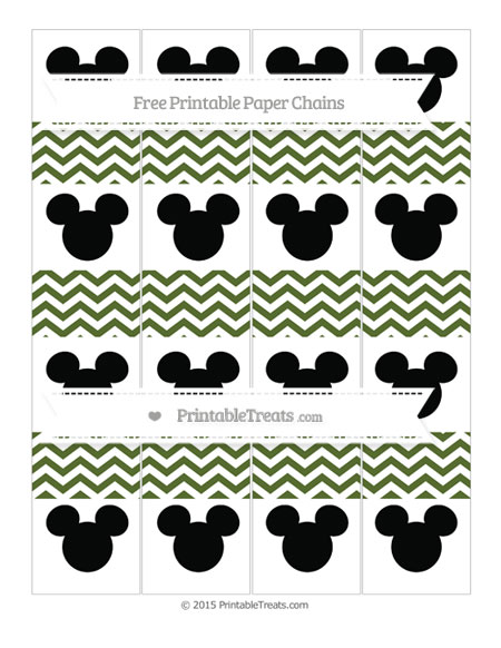 Free Dark Olive Green Chevron Mickey Mouse Paper Chains