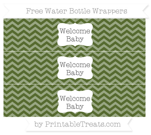 Free Dark Olive Green Chevron Welcome Baby Water Bottle Wrappers