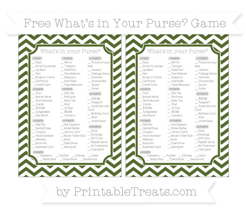 Free Dark Olive Green Chevron What's in Your Purse Baby Shower Game