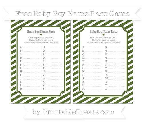 Free Dark Olive Green Diagonal Striped Baby Boy Name Race Game