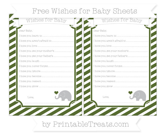 Free Dark Olive Green Diagonal Striped Baby Elephant Wishes for Baby Sheets