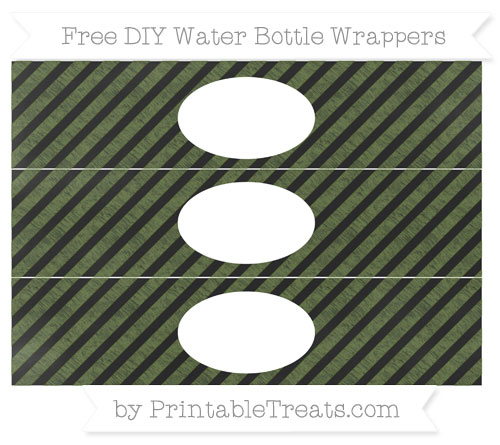 Free Dark Olive Green Diagonal Striped Chalk Style DIY Water Bottle Wrappers