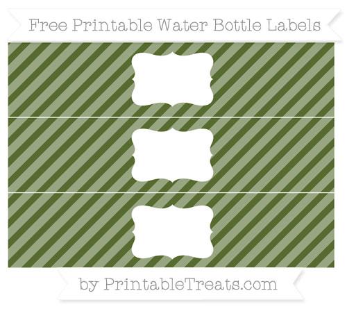 Free Dark Olive Green Diagonal Striped Water Bottle Labels