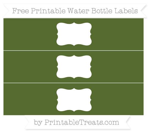 Free Dark Olive Green Water Bottle Labels
