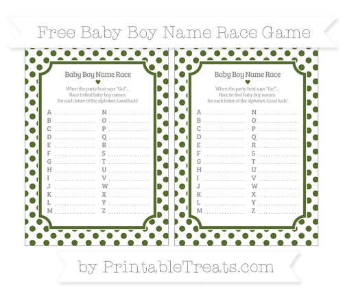 Free Dark Olive Green Dotted Pattern Baby Boy Name Race Game