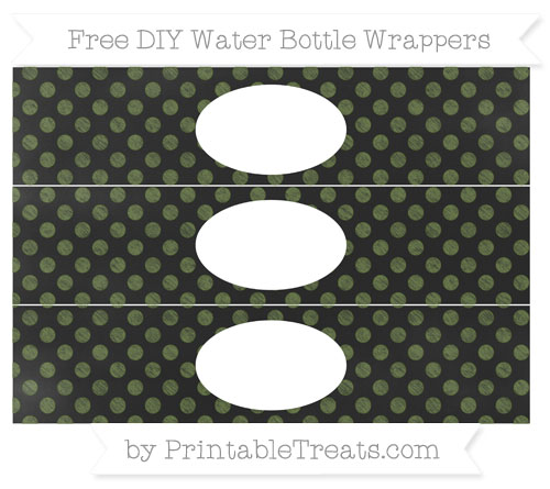 Free Dark Olive Green Dotted Pattern Chalk Style DIY Water Bottle Wrappers