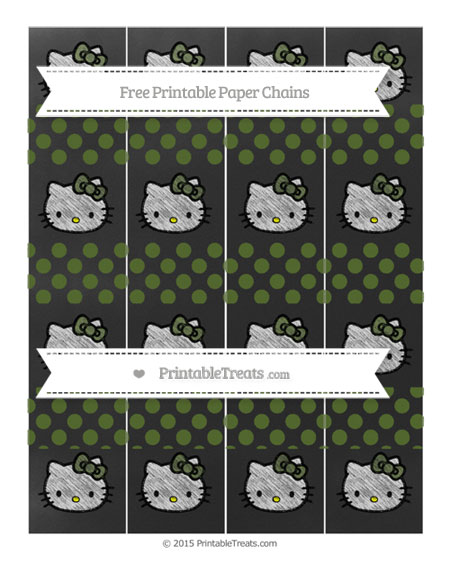 Free Dark Olive Green Dotted Pattern Chalk Style Hello Kitty Paper Chains