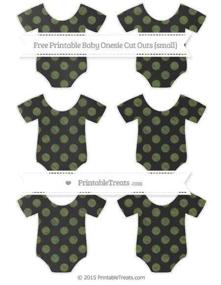 Free Dark Olive Green Dotted Pattern Chalk Style Small Baby Onesie Cut Outs