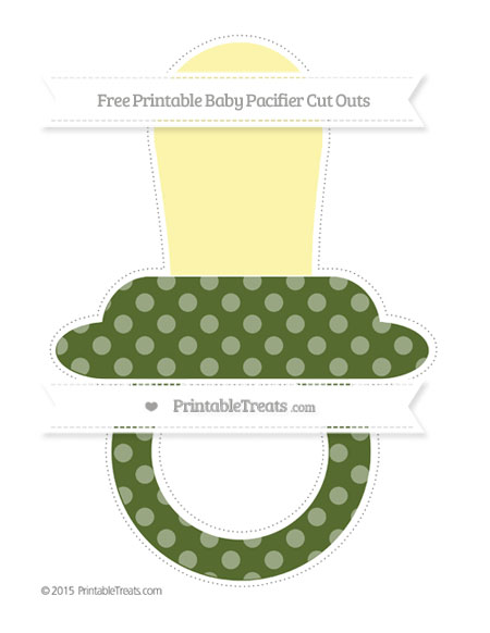 Free Dark Olive Green Dotted Pattern Extra Large Baby Pacifier Cut Outs