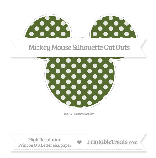 Free Dark Olive Green Dotted Pattern Extra Large Mickey Mouse Silhouette Cut Outs