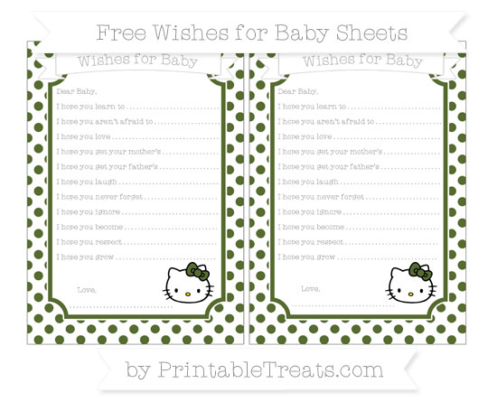 Free Dark Olive Green Dotted Pattern Hello Kitty Wishes for Baby Sheets