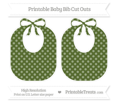 Free Dark Olive Green Dotted Pattern Large Baby Bib Cut Outs