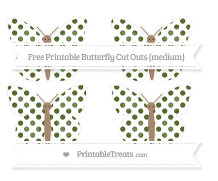 Free Dark Olive Green Dotted Pattern Medium Butterfly Cut Outs