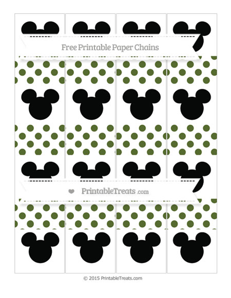 Free Dark Olive Green Dotted Pattern Mickey Mouse Paper Chains
