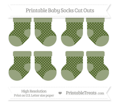 Free Dark Olive Green Dotted Pattern Small Baby Socks Cut Outs