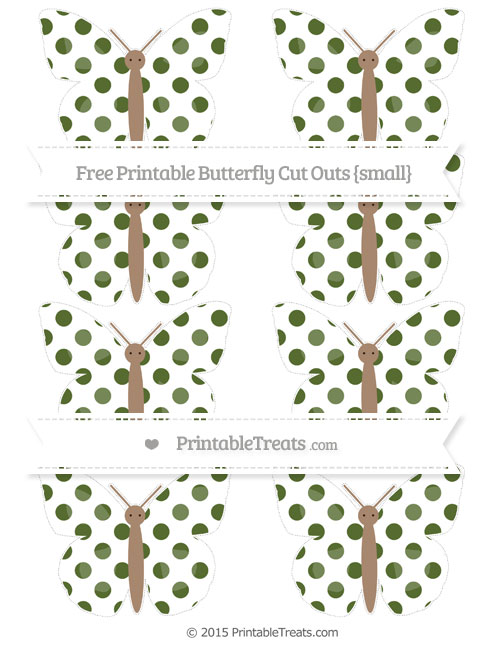 Free Dark Olive Green Dotted Pattern Small Butterfly Cut Outs