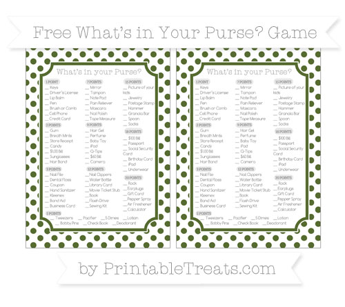 Free Dark Olive Green Dotted Pattern What's in Your Purse Baby Shower Game