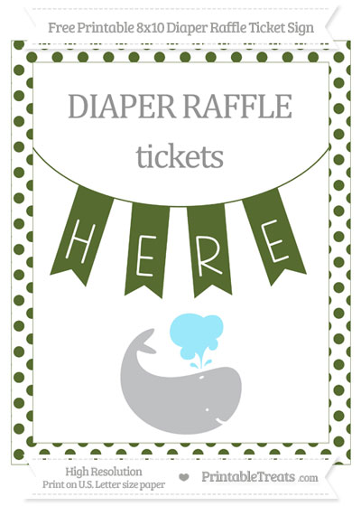 Free Dark Olive Green Dotted Whale 8x10 Diaper Raffle Ticket Sign