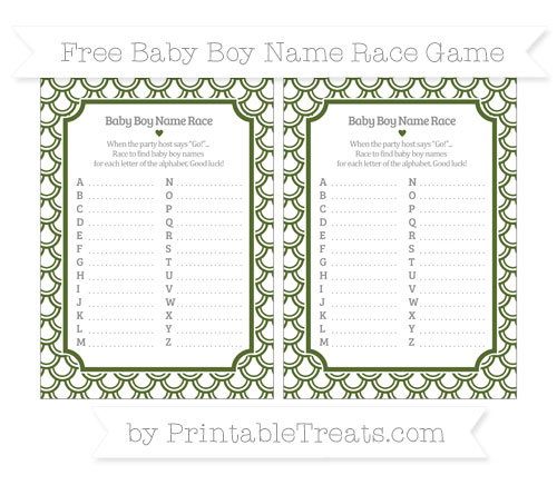 Free Dark Olive Green Fish Scale Pattern Baby Boy Name Race Game