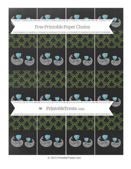 Free Dark Olive Green Fish Scale Pattern Chalk Style Baby Whale Paper Chains