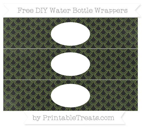 Free Dark Olive Green Fish Scale Pattern Chalk Style DIY Water Bottle Wrappers