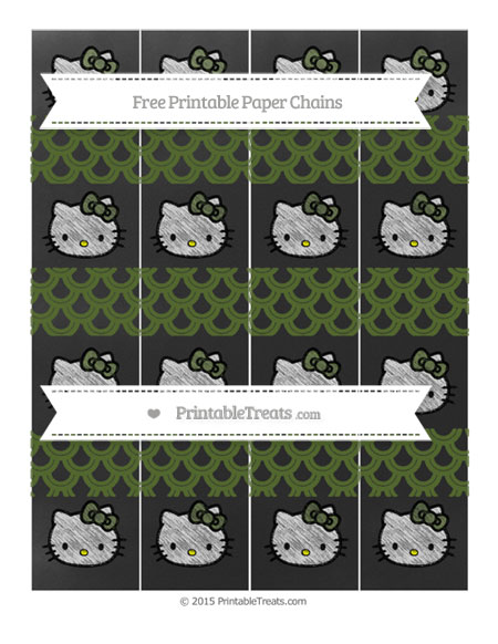 Free Dark Olive Green Fish Scale Pattern Chalk Style Hello Kitty Paper Chains
