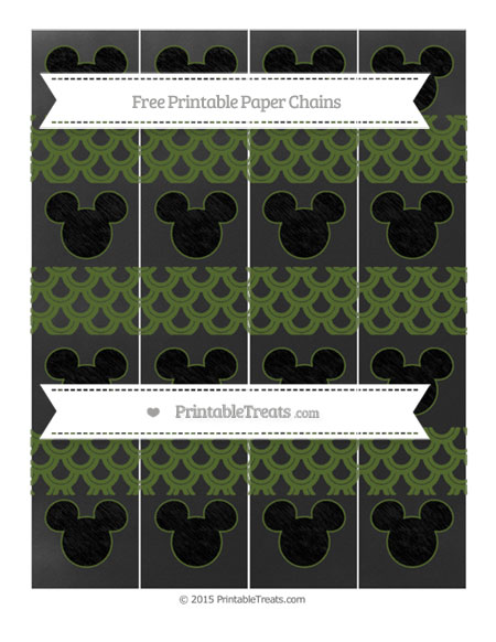 Free Dark Olive Green Fish Scale Pattern Chalk Style Mickey Mouse Paper Chains