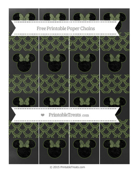 Free Dark Olive Green Fish Scale Pattern Chalk Style Minnie Mouse Paper Chains
