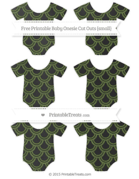 Free Dark Olive Green Fish Scale Pattern Chalk Style Small Baby Onesie Cut Outs
