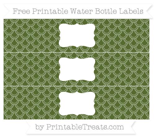 Free Dark Olive Green Fish Scale Pattern Water Bottle Labels