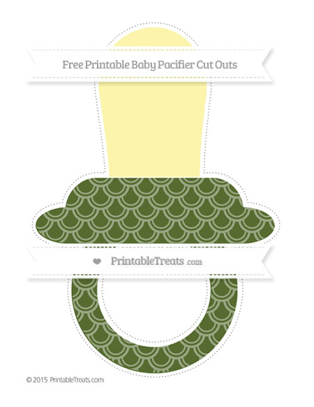 Free Dark Olive Green Fish Scale Pattern Extra Large Baby Pacifier Cut Outs