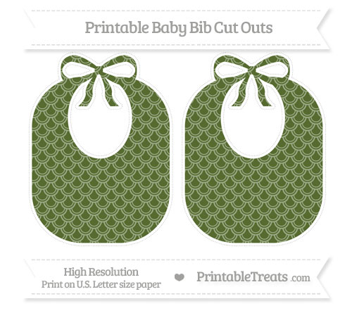 Free Dark Olive Green Fish Scale Pattern Large Baby Bib Cut Outs