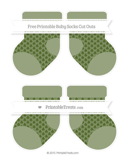 Free Dark Olive Green Fish Scale Pattern Medium Baby Socks Cut Outs