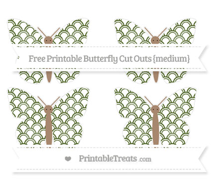 Free Dark Olive Green Fish Scale Pattern Medium Butterfly Cut Outs