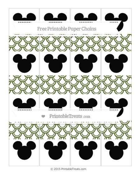 Free Dark Olive Green Fish Scale Pattern Mickey Mouse Paper Chains