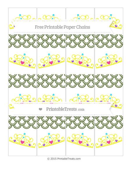 Free Dark Olive Green Fish Scale Pattern Princess Tiara Paper Chains