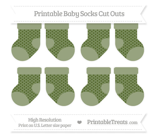 Free Dark Olive Green Fish Scale Pattern Small Baby Socks Cut Outs