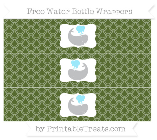 Free Dark Olive Green Fish Scale Pattern Whale Water Bottle Wrappers