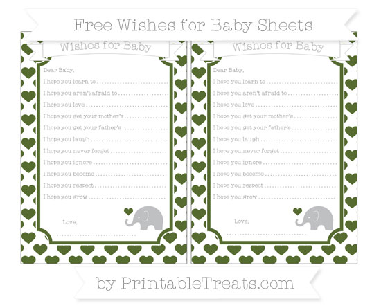 Free Dark Olive Green Heart Pattern Baby Elephant Wishes for Baby Sheets