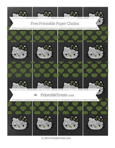 Free Dark Olive Green Heart Pattern Chalk Style Hello Kitty Paper Chains