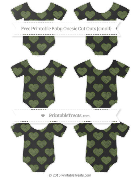 Free Dark Olive Green Heart Pattern Chalk Style Small Baby Onesie Cut Outs
