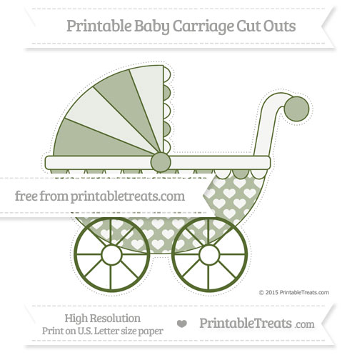 Free Dark Olive Green Heart Pattern Extra Large Baby Carriage Cut Outs