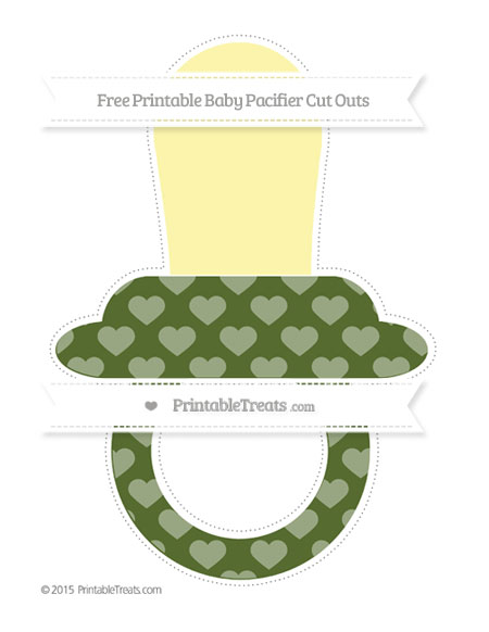 Free Dark Olive Green Heart Pattern Extra Large Baby Pacifier Cut Outs