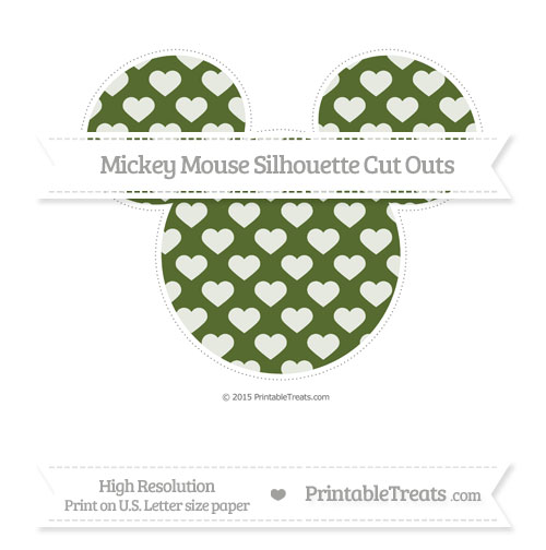 Free Dark Olive Green Heart Pattern Extra Large Mickey Mouse Silhouette Cut Outs